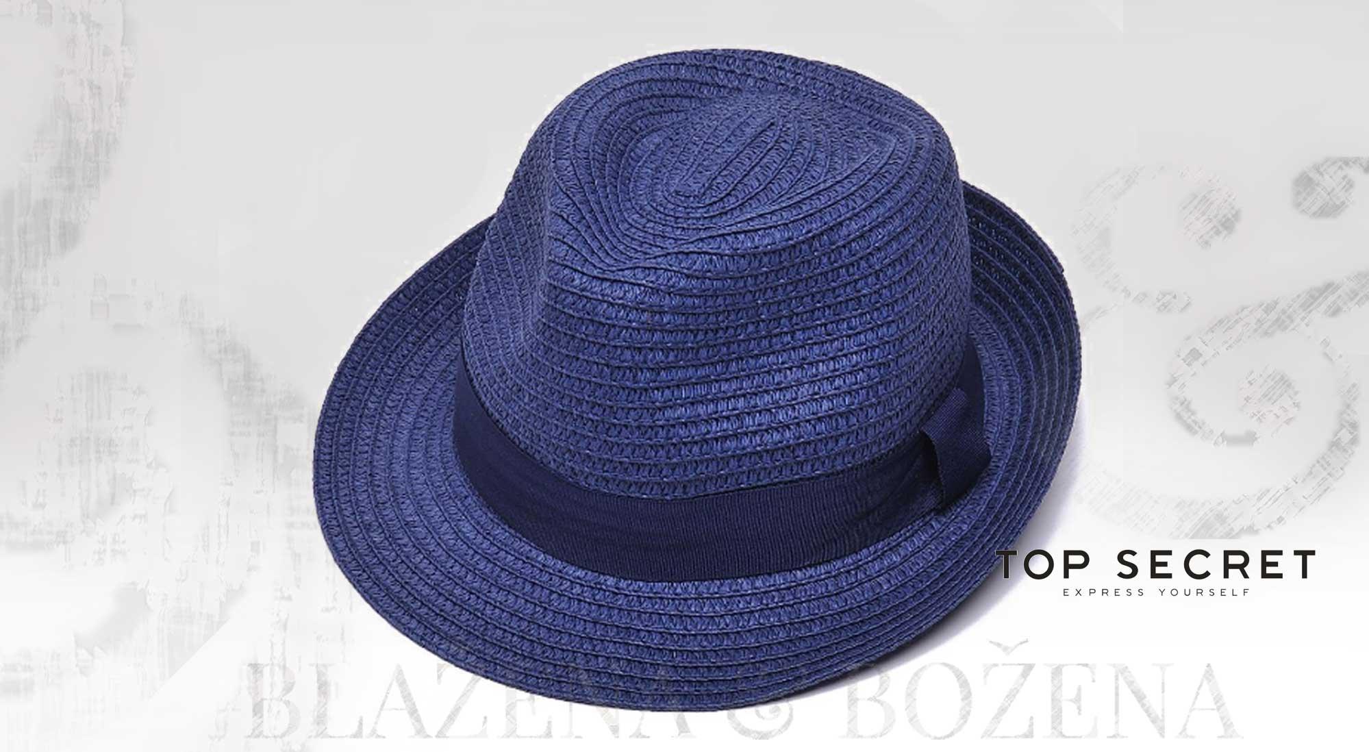ad4ed688727 Blažena Božena. královny klobouků. Modrý slamák TOP SECRET