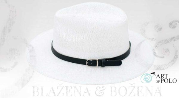 Bílý slamák s páskem Oviedo