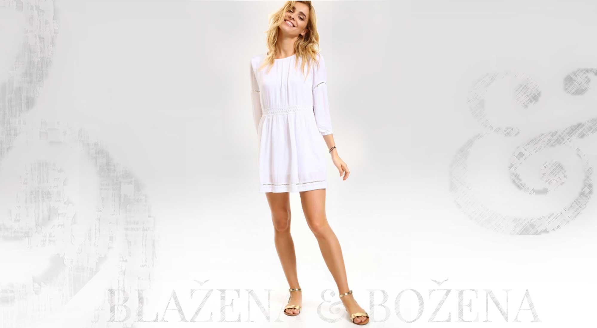 5f4bdb00312 Blažena Božena. královny klobouků. Bílé šaty s krajkovými průstřihy