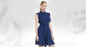 Elegantní modré šaty s páskem