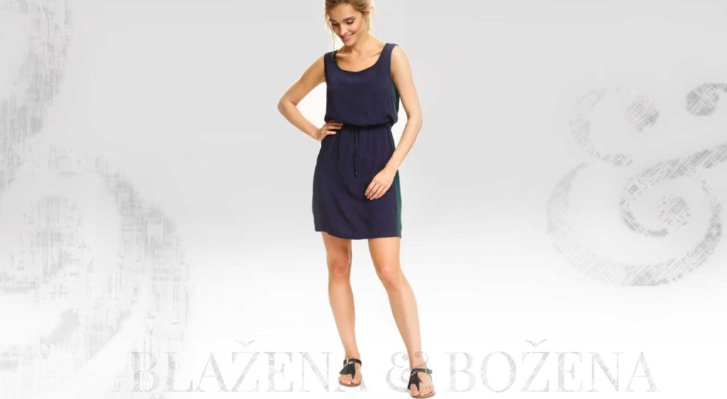 Lehké modré šaty s postranním páskem