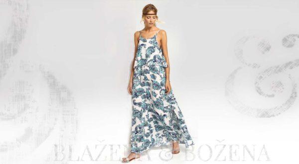 Vzorované letní šaty v modrých odstínech