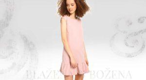 Pudrové šaty s volánkem