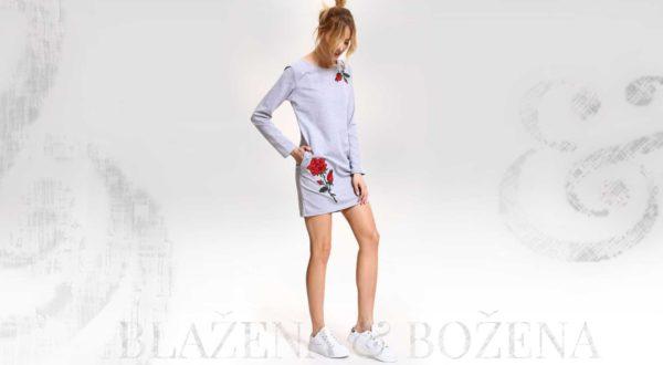 Šedomodré šaty s výšivkou