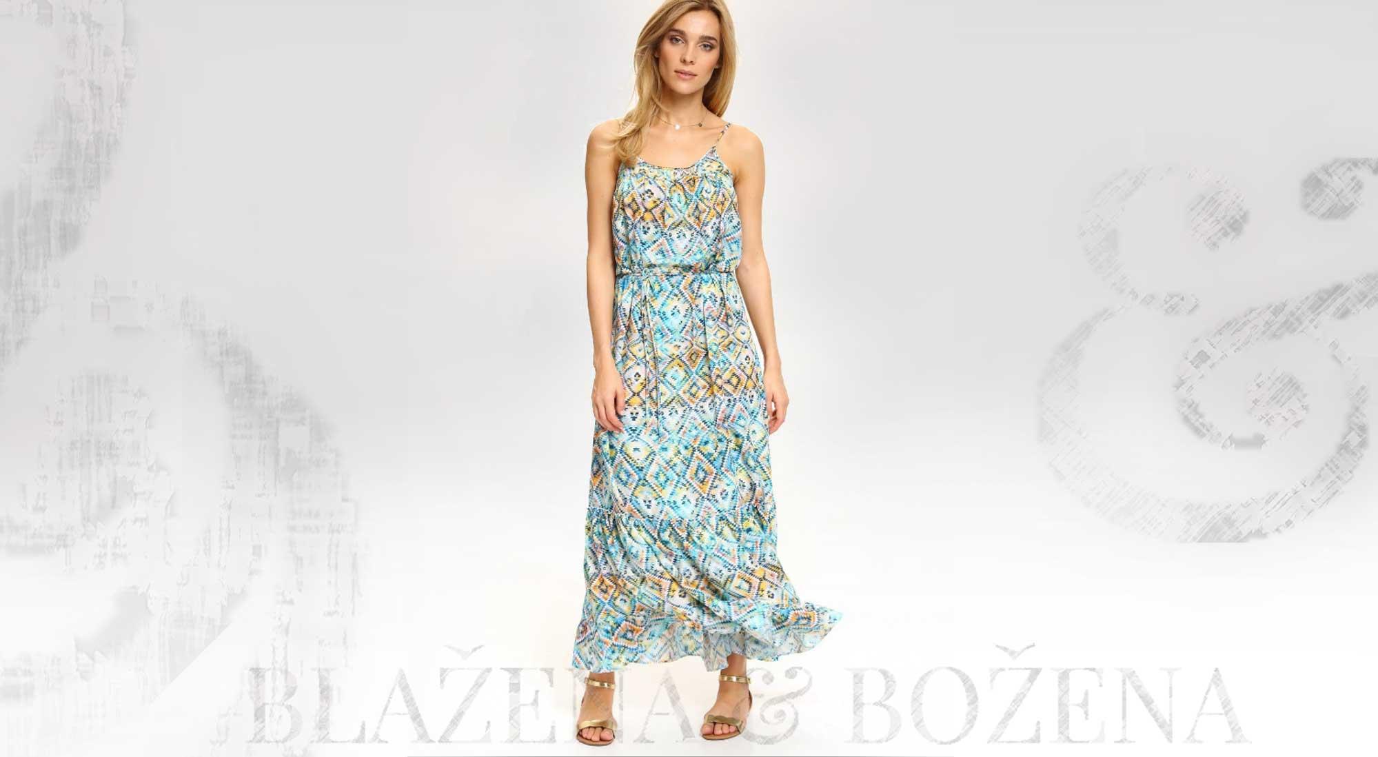 Vzorované letní šaty s tyrkysem – Blažena Božena 1cb5b0168cc