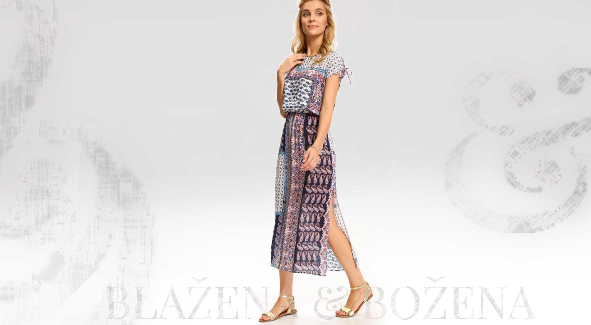 Vzorované dlouhé letní šaty – Blažena Božena f7dcef5a2b