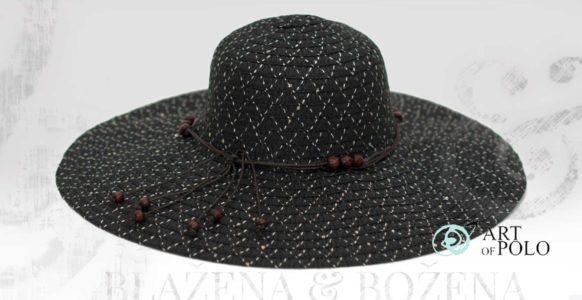 Letní klobouk s korálky černý