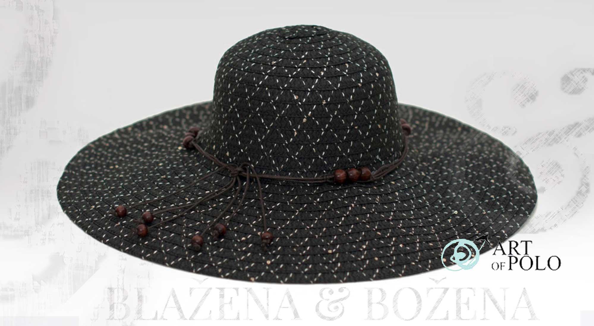 Letní klobouk s korálky černý – Blažena Božena 42baeb3e6b
