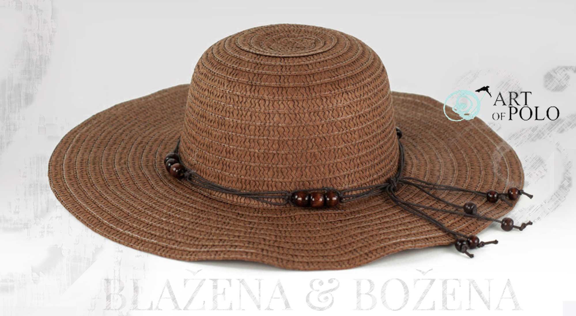 Letní klobouk s korálky hnědý – Blažena Božena dd865ca3fa
