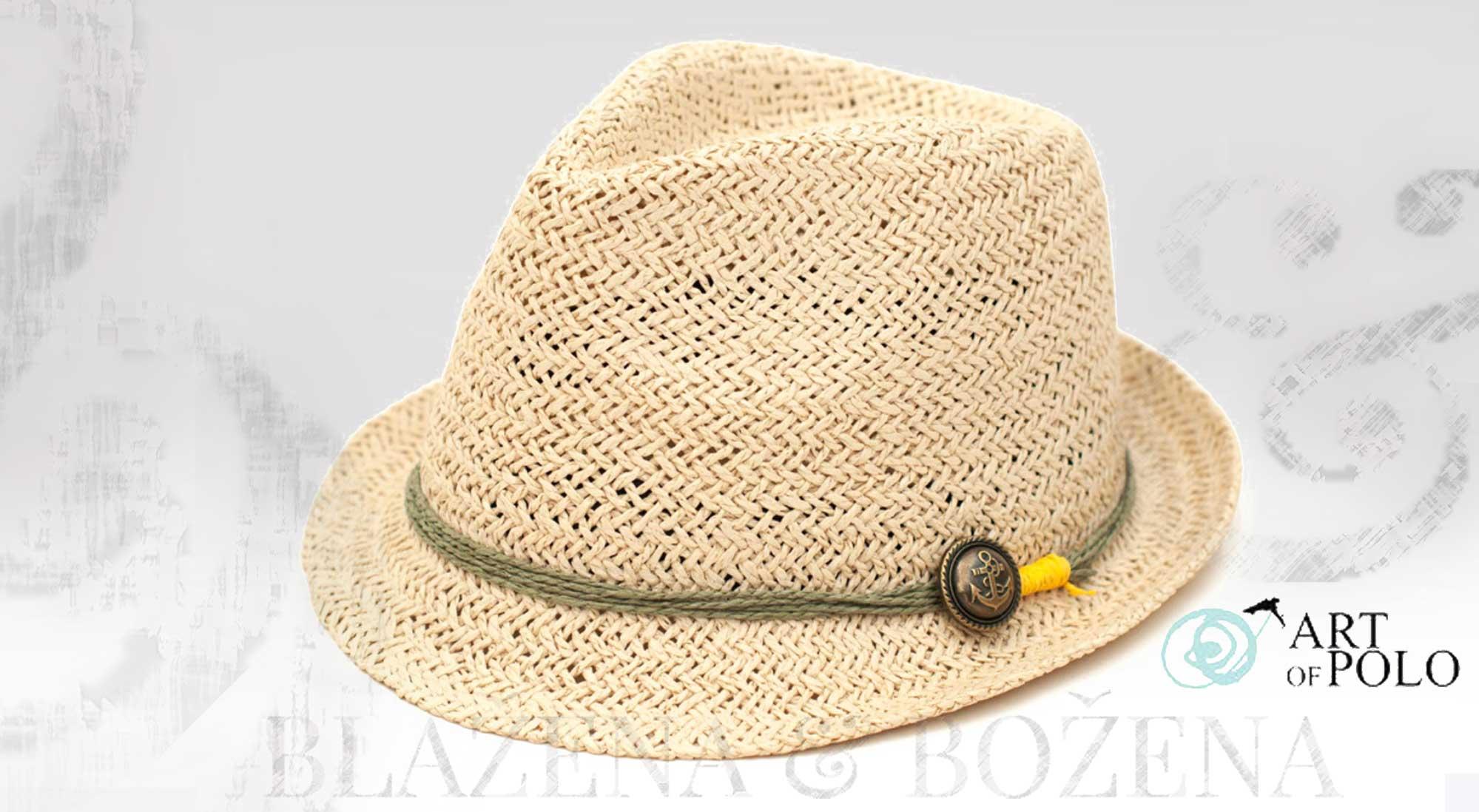 Blažena Božena. královny klobouků. Světlý slamák s kotvou 5b4a5fd448