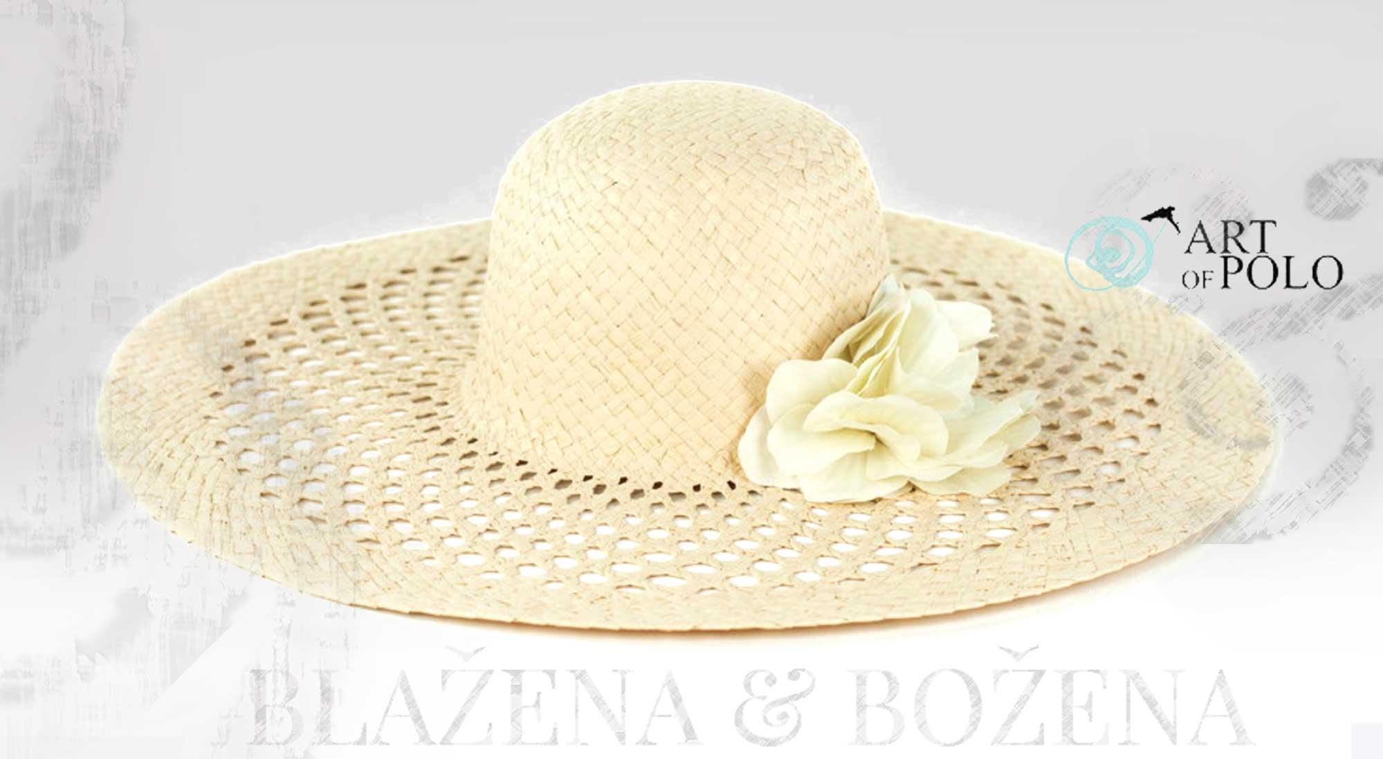 Blažena Božena. královny klobouků. Bílý letní klobouk s květinou 6249f3e732