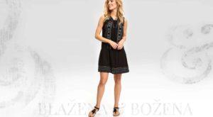 Černé šaty se vzorem a šněrováním