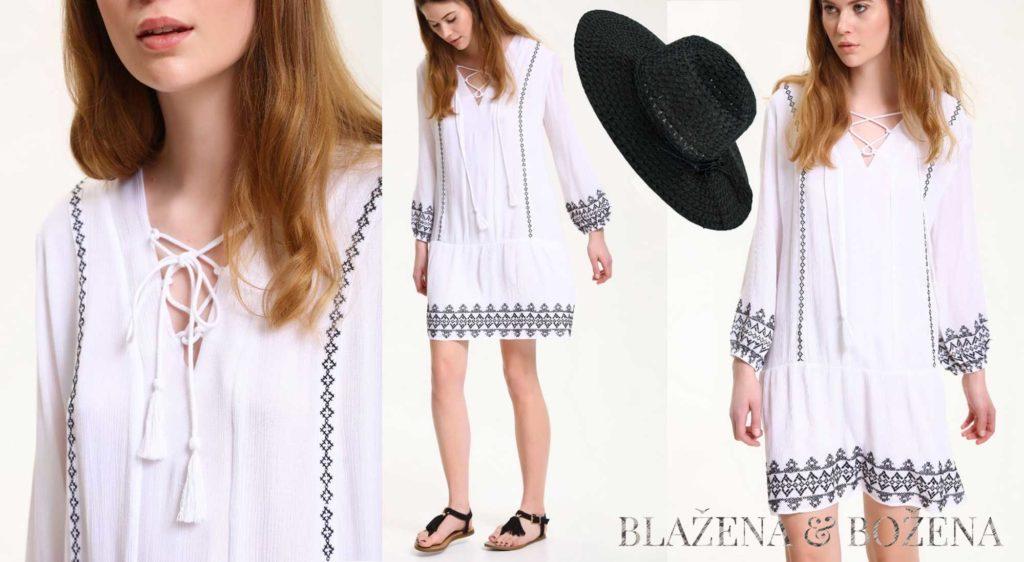 Bílé šaty se vzorem a šněrováním