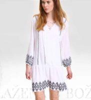 Krátké bílé šaty se vzorem a šněrováním