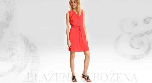 Krátké červené šaty s propínáním